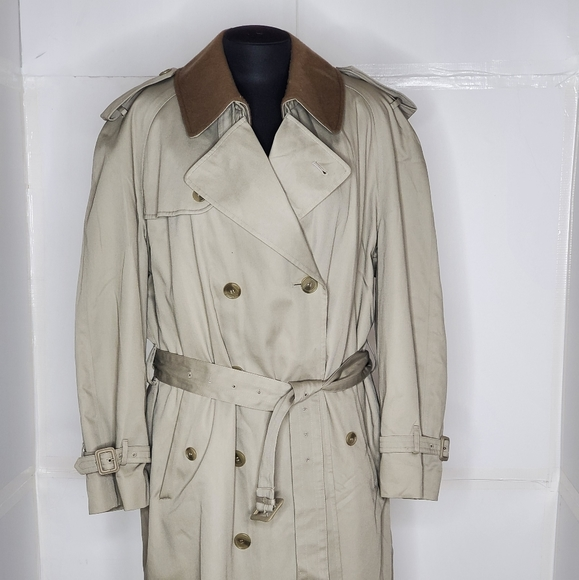 Stafford Tan Double Breasted Trench Coat 42 short